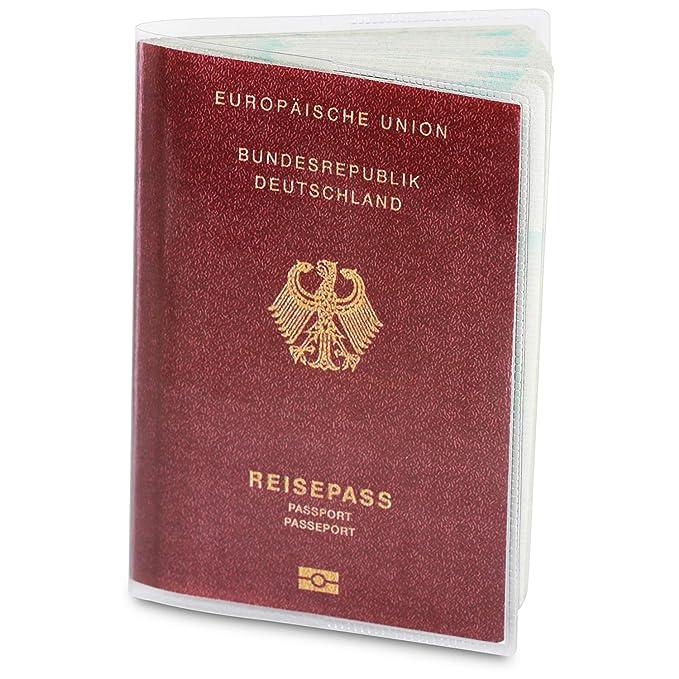 2 x Reisepasshülle für den NEUEN Reisepass (ab April 2017), dokumentenecht und transparent in reißfester Schutzhülle. Schützt