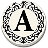 """CounterArt 'Initially Yours' Absorbent Stoneware Car Coaster, Monogrammed """"A"""""""
