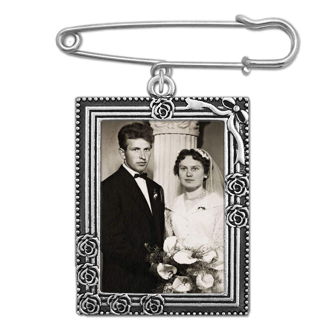 Wedding Boutonniere Bouquet Charm Pin Rose Portrait Frame Photo Charm Mother of The Bride Groom w/Photo Resizing Software PhotoJewelryMaking