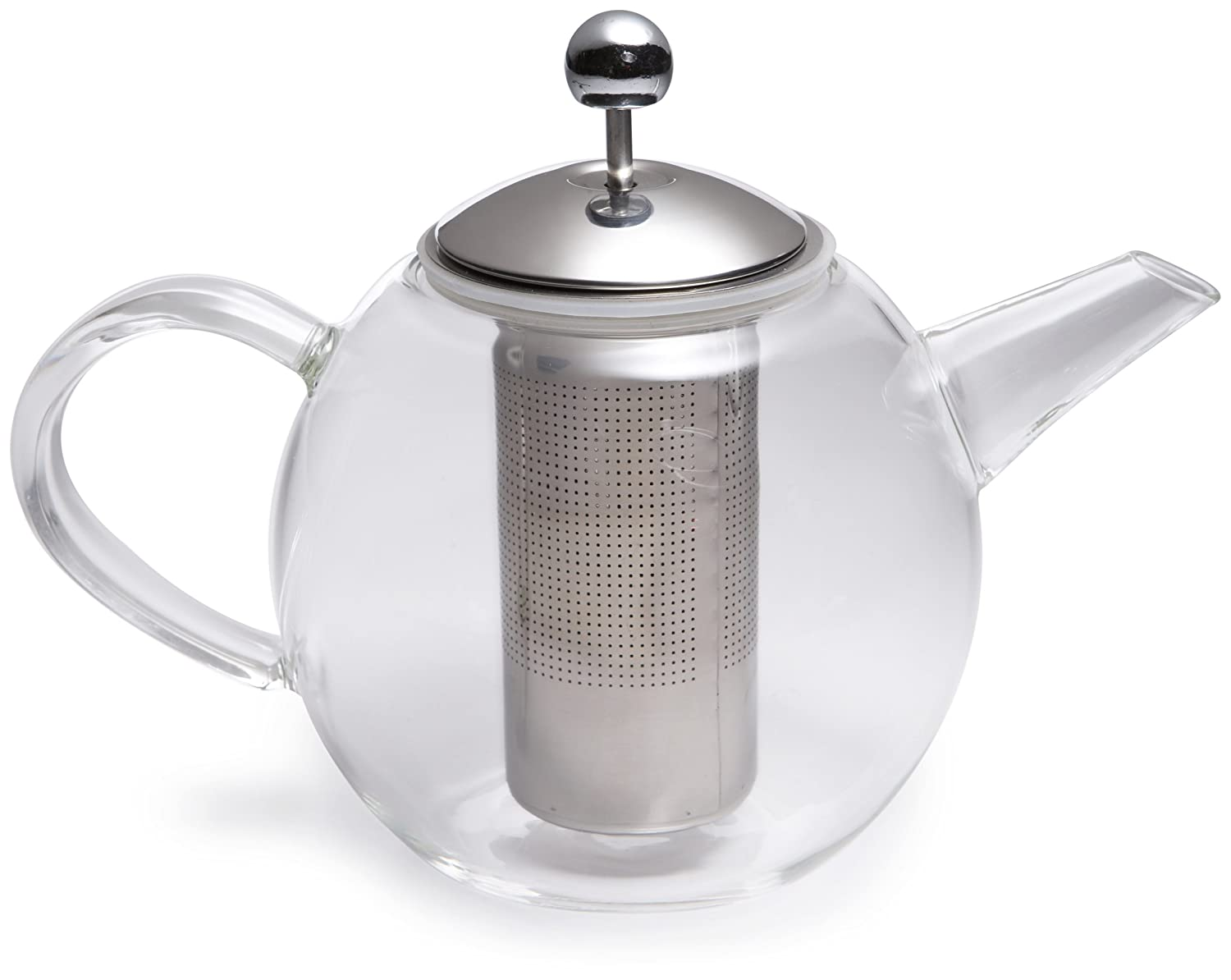 Bonjour Tea Handblown Borosilicate Insulated Glass Teapot, Stainless Steel Infuser, 23.7-Ounce 53840