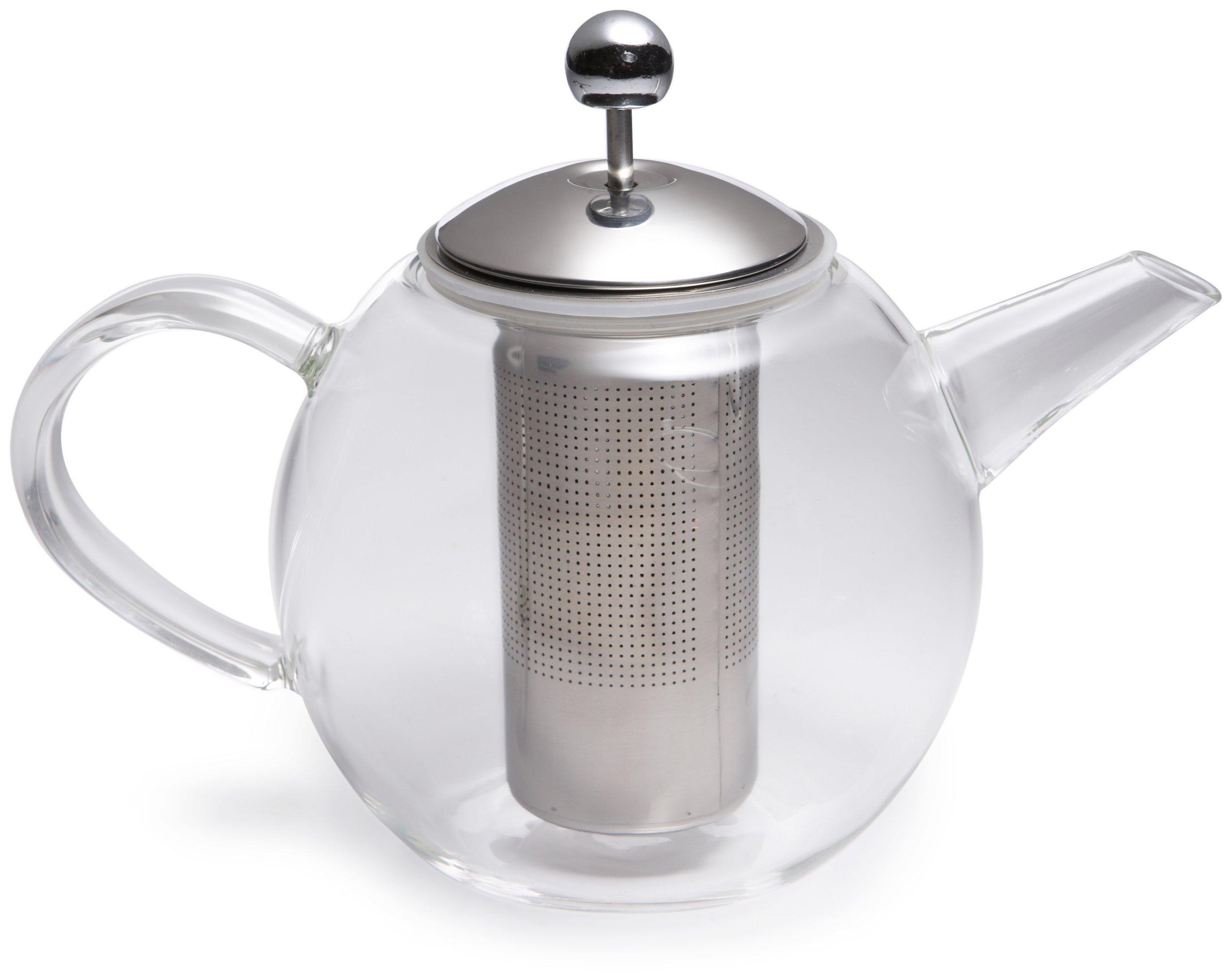 BonJour Tea Handblown Borosilicate Insulated Glass Teapot, Stainless Steel Infuser, 23.7-Ounce