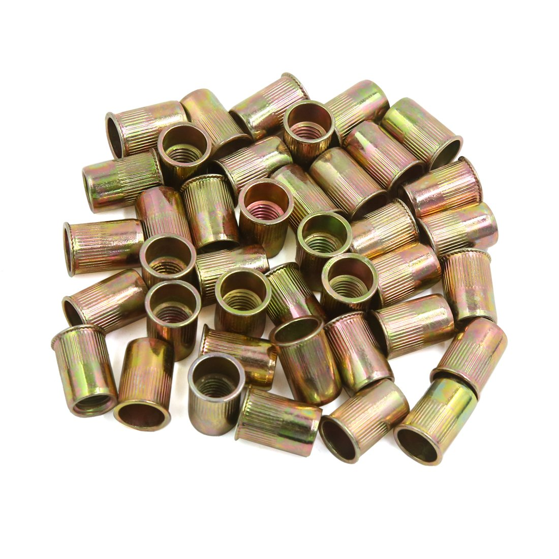 uxcell a16073000ux1895 40pcs M10 Bronze Tone Small Head Stainless Steel Thread Metal Rivet Nut Nutserts, 40 Pack