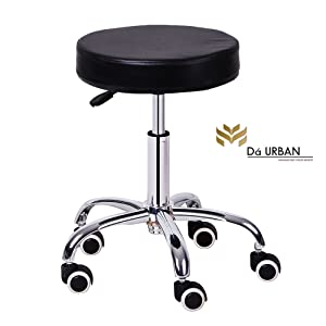 Da URBAN Round Bar Stool (Black) (1 Pc) (Wheels) Height Adjustable ISO & BIFMA Certified