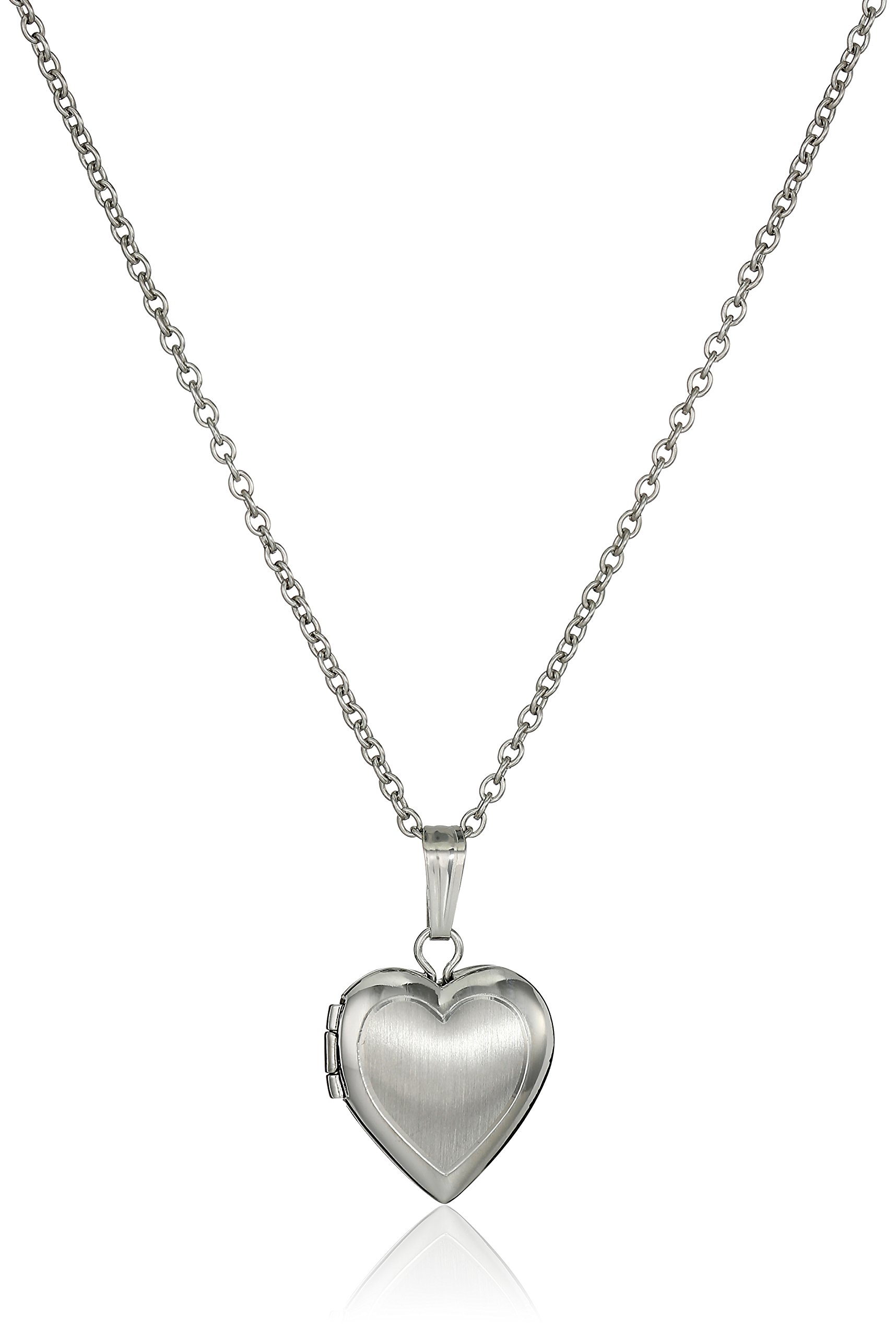 Children's Sterling Silver Hand-Engraved Heart Locket Necklace, 13''