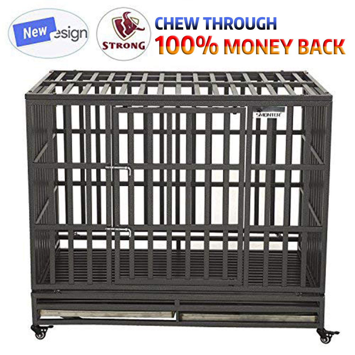 SMONTER 46'' Heavy Duty Dog Crate Strong Metal Pet Kennel Playpen with Two Prevent Escape Lock, Large Dogs Cage with Wheels, Dark Silver