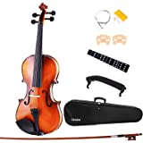 Ohuhu Full Size 4/4 Natural Violin Fiddle with Violin Case, Bow, Rosin and Bridge C Student Violin Starter Kit for Beginner, Kids, Birthday, Mother's Day, Father's Day, Gifts, (Antique)