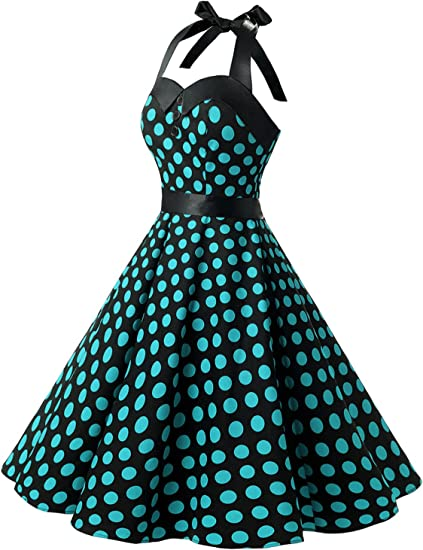 Vintage Polka Dot Retro Cocktail Prom Dress