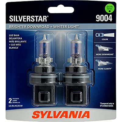 SYLVANIA - 9004 SilverStar - High Performance Halogen Headlight Bulb, High Beam, Low Beam and Fog Replacement Bulb, Brighter Downroad with Whiter Light (Contains 2 Bulbs): Automotive