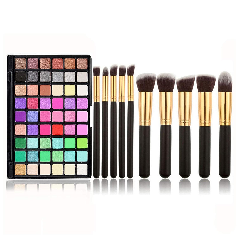 Joyeee 54 Colors Candies Eyeshadow Palette + 10 Makeup Brush Set, Profession Makeup Ultimate Shadow Palette, Neon Combination Bright Colorful Matte Eye Shadow Powder, Cosmetic Halloween Makeup Kit