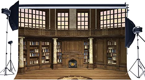 gladbuy 9 x 6ft estantería telón de fondo antiguo Biblioteca chimenea pilares de piedra de estilo