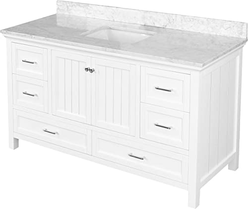 Paige 60-inch Single Bathroom Vanity Carrara/White : Includes White Cabinet
