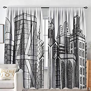 "NUOMANAN Blackout Curtains for Bedroom Urban,Sketch Style Buildings with Skyscrapers City Town Metropolis Graphic Print,Black Grey White,for Bedroom&Kitchen&Living Room 54""x84"""