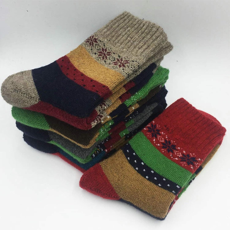 Blisfille Calcetines 5 Pares Calcetines Medias Colores Calcetines Altos Lana Calcetines para Invierno Hombre Calcetines para Diabeticos Mujer,un Par para Cada Color,S