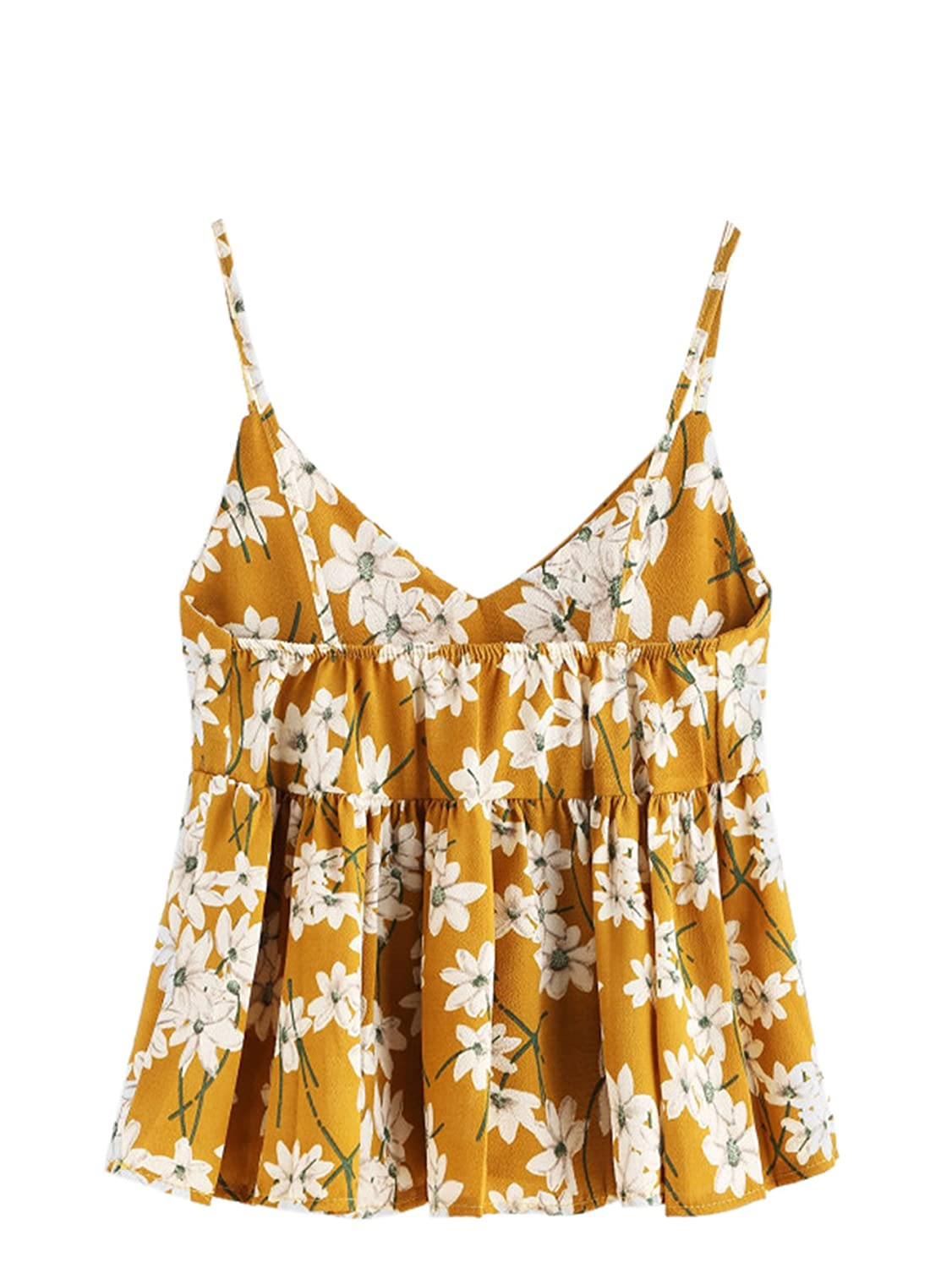 0a6b9052e23b1 Romwe Women s Floral Print Random Babydoll Cami Top Yellow One-Size at  Amazon Women s Clothing store