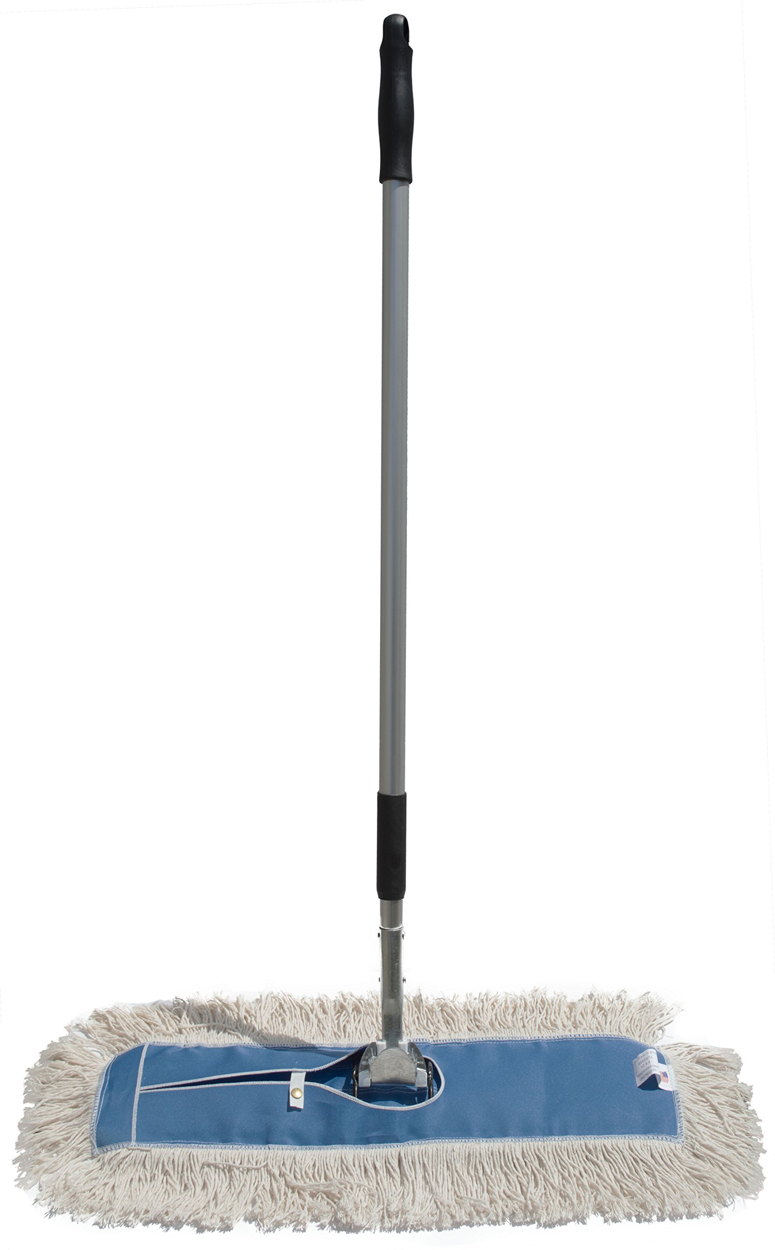 Nine Forty Industrial | Commercial Strength Ultimate Cotton Dust Mop Head with Aluminum Quick Change Extension Handle and Frame | Hardwood Floor Mop (24'' Wide X 5'') by Nine Forty