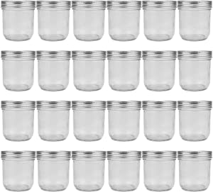 8oz / 250ml Mason Jars Glass Jelly Jars, Canning Jars With Regular Lids, Ideal for Honey,Jam,Baby Foods,Wedding Favors,Shower Favors, 24 Pack