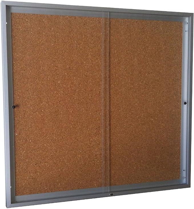 Vitrina de anuncios para 6 tamaños A4 de puertas correderas fondo corcho altura 68 cm x Ancho 72 cm: Amazon.es: Oficina y papelería