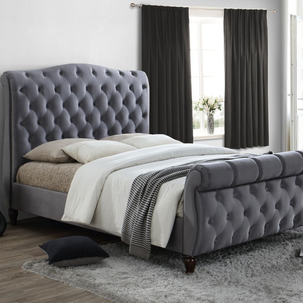Button headboard Grey linen fabric divan bed Spring mattress 6ft Superking