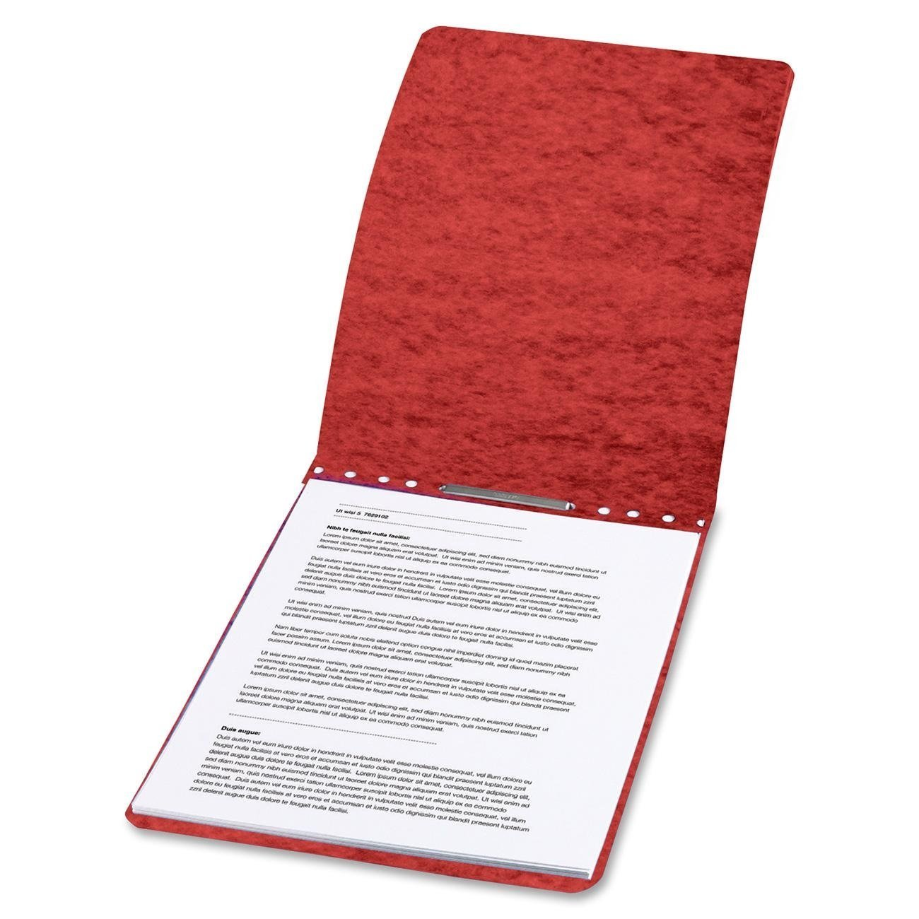 ACCO Legal Size Pressboard Binder Report Cover for 8-1/2''(W) x 14''(L) Legal Size Paper, Prong Clip, 2-Inch Capacity, Red - 5 Per Pack
