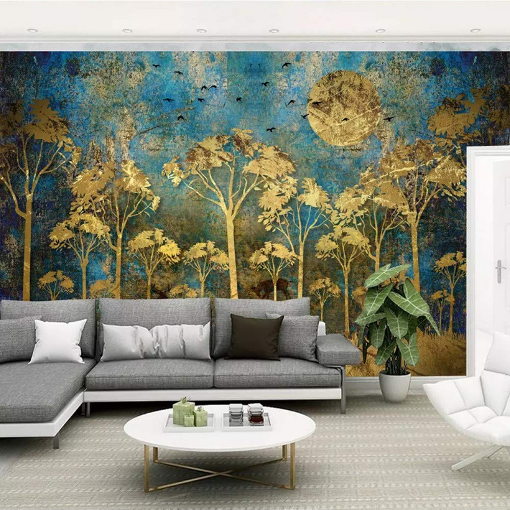 Tapeten Benutzerdefinierte Wandbild Wandmalerei Chinesischen Stil Abstrakte Goldene Wald Baum Vogel Hirsch Foto Tapete Wohnzimmer Sofa Schlafzimmer Wandkunstdekor 300X210CM