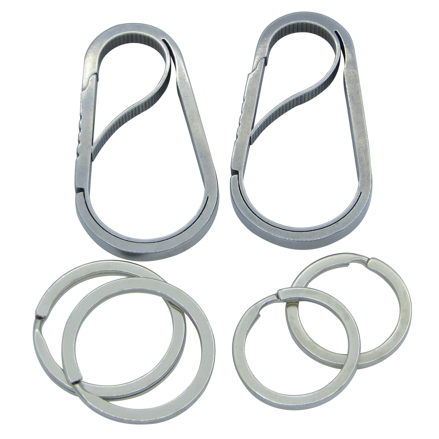 Hiking Fishing BESYL Anti-Lost Full Stainless Steel Key Chain Carabiner Home Camping Traveling
