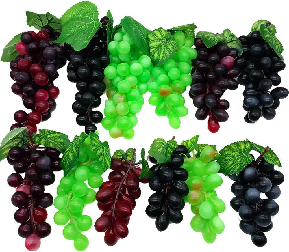 Aisamco Paquete de 12 Uvas Artificiales Surtidas Racimos de Uva Esmerilada Uva de Goma con 4 Tamaños para Favores Vintage Decoración de Vino de Frutas Faux Fruit Props