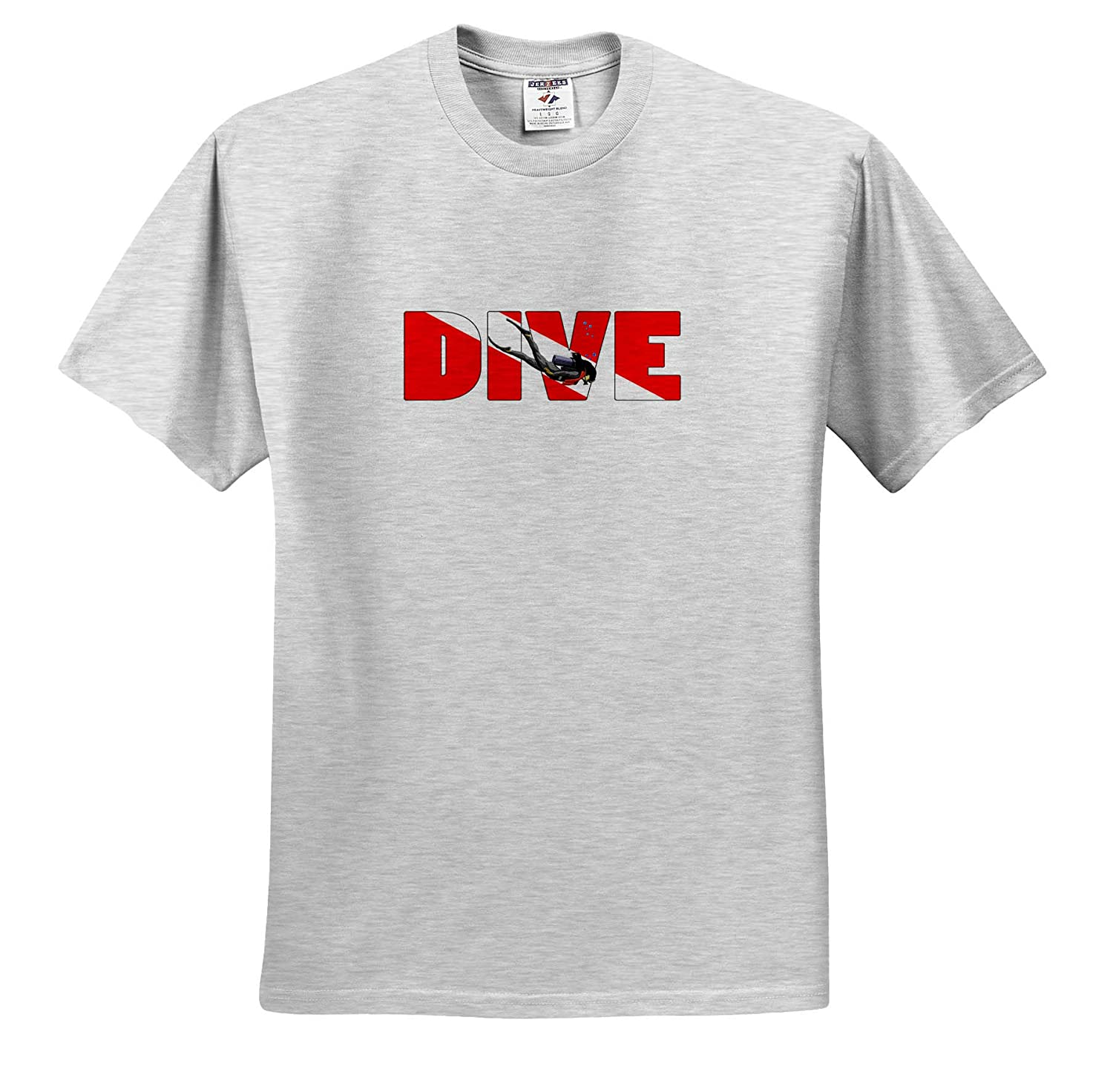 - T-Shirts Scuba 3dRose Macdonald Creative Studios Female Scuba Diver with Dive in The red and White Dive Flag Colors