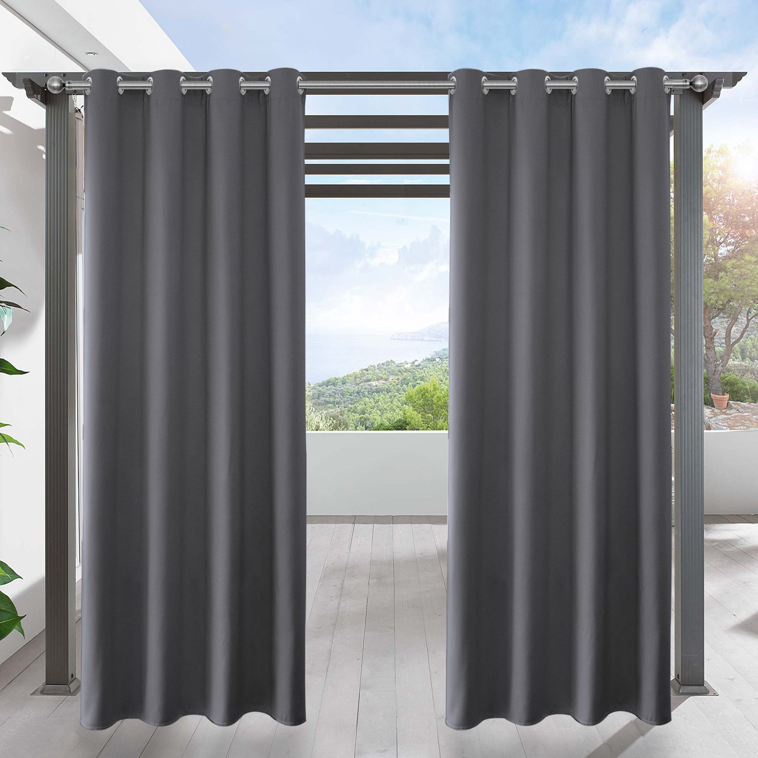 LIFONDER Grey Blackout Outdoor Curtains - Indoor/Outdoor Curtain Panels for Patio Privacy/Gazebo Pergola/Porch with Grommet Top, 52 Inches Wide by 95 Inches Long,(Set of 1)