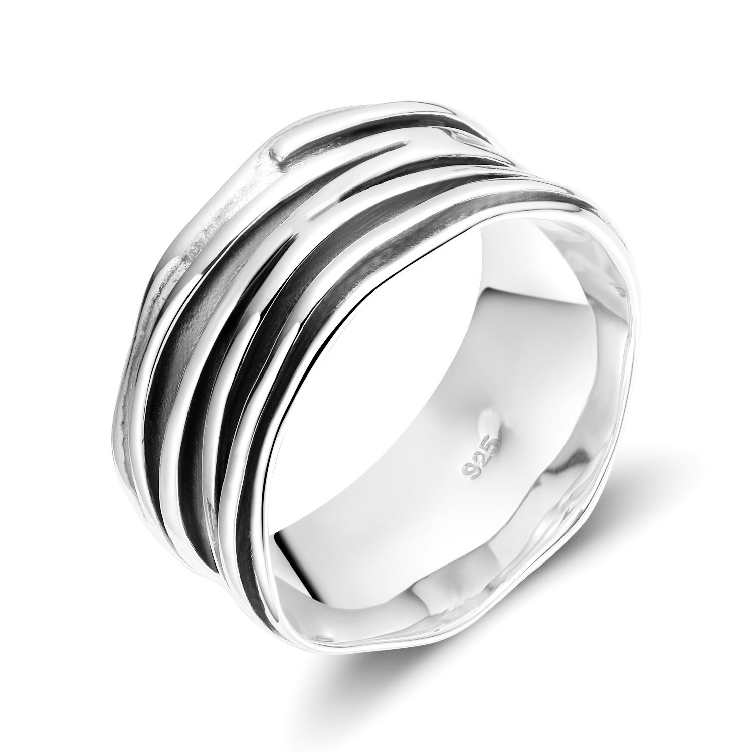 Wide Band Sterling Silver Ripple Ring Satin Brushed Oxidized darkened 10mm Somen SOMENYJZ15009S
