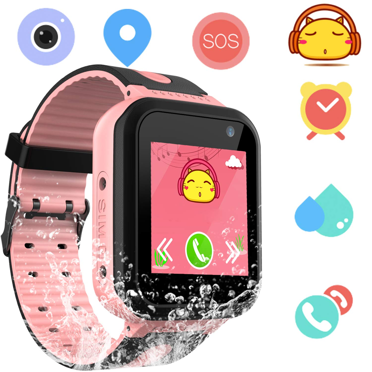 Kids Smart Watch Waterproof Phone - smartwatches Phone Digital Wrist Watch SOS Alarm Clock Camera LBS Tracker Flashlight Phone Watch for Children Age ...