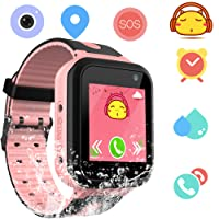 Kids Waterproof Smartwatch with GPS Tracker - Boys & Girls IP67 Waterproof Smart Watch Phone with Camera Games Sports Watches Supplies Grade Student Back to School (S7pink)