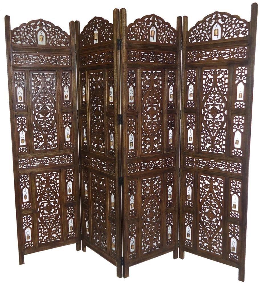Astounding 4 Panel Heavy Duty Indian Wooden Bells Design Folding Screen Room Divider Light Brown 183X50Cm Per Panel 202Cm Wide Open Interior Design Ideas Tzicisoteloinfo