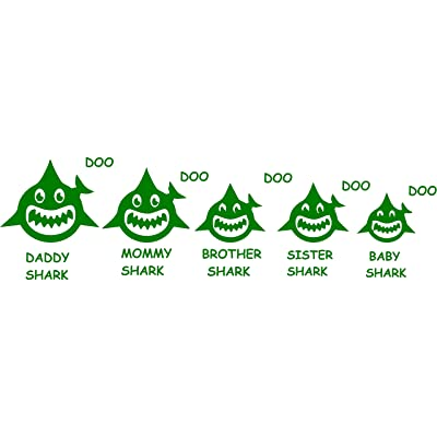 "Maple Enterprise Baby Shark Doo Doo Mommy Daddy Brother Sister and Baby Shark Family Vinyl Decal Sticker for Car Laptop Wall Room Decoration 12""x 4"" (Green): Automotive"