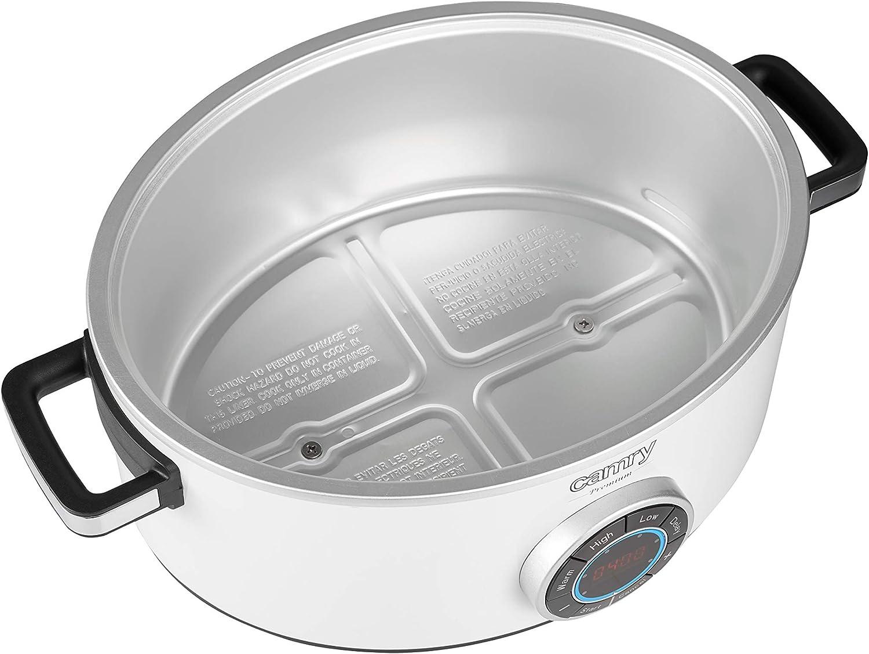 Camry CR6410 Olla de Cocción Lenta, 6.5 L Slow Cooker Temporizador Digital y 3 Configuraciones de Temperatura, Olla Coccion Lenta Tapa de Vidrio y Olla de Cerámica, Blanco: Amazon.es: Hogar