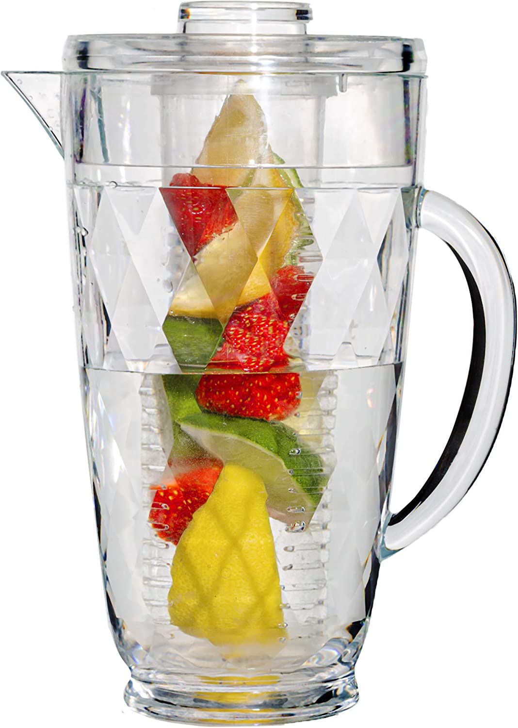 Water Infuser Pitcher – 70 OZ. Fruit Infusion Pitcher By Gift Essentials – Acrylic Shatterproof Infusion Pitcher – Unique Diamond Cut Pattern- Ideal for Iced Tea, Juice, Beverages, Water,