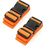 BlueCosto Luggage Strap Suitcase Straps Belts Travel Accessories, 2-Pack, Orange