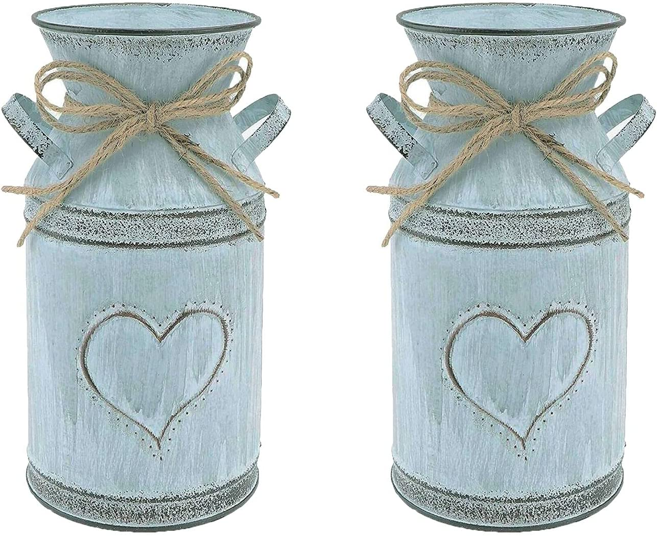 High Decorative Vase Rustic Vintage vase French Style Country Metal Shabby Chic Vase Galvanized Sheet Garden Plating Flower Pot Milk Can with Heart-Shaped Unique Design for Home Kitchen Decoration