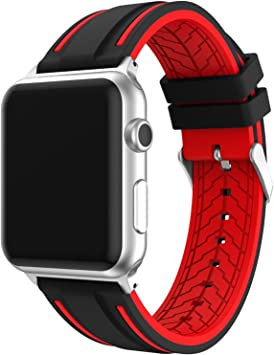 IvyLife Correa de Reemplazo Compatible con Apple Watch 42mm iWatch Series 4/ 3/2/1, Correa Ajustable de Repuesto de Silicona para iWatch, Negro y Rojo: Amazon.es: Electrónica