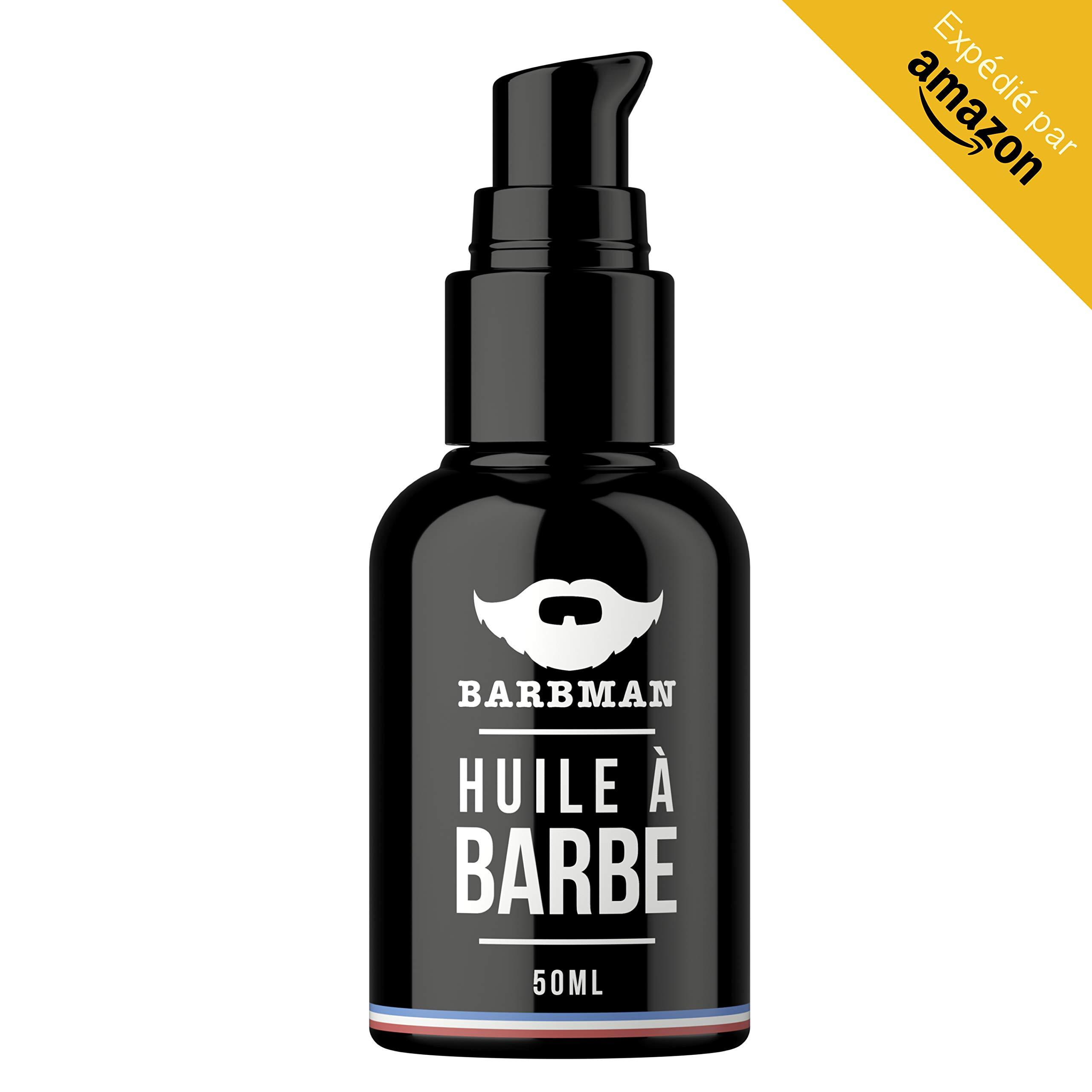 BARBMAN: HUILE à BARBE Naturelle enrichit en huile de Jojoba et Pépins de Raisins pour hydrater et nourrir votre peau. Discipline votre barbe en lui apportant éclat et douceur. Cadeau idéal pour Barbu product image
