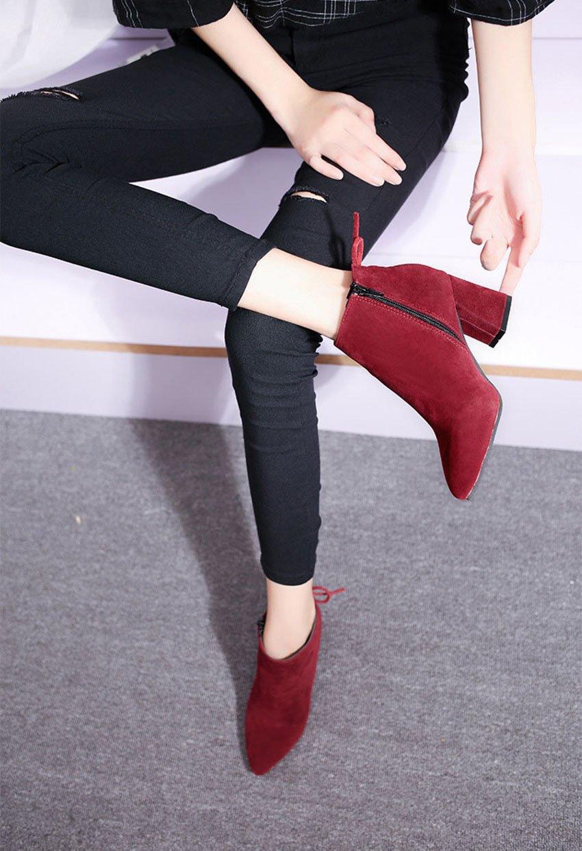 QTZS Frauen 's Schuhe aus Nubukleder Herbst Herbst Herbst Winter Mode Stiefelies Stiefel Stiefeletten für Casual Burgund Khaki Schwarz, Burgund, US 6 EU 36 UK4 CN 36 9ac050
