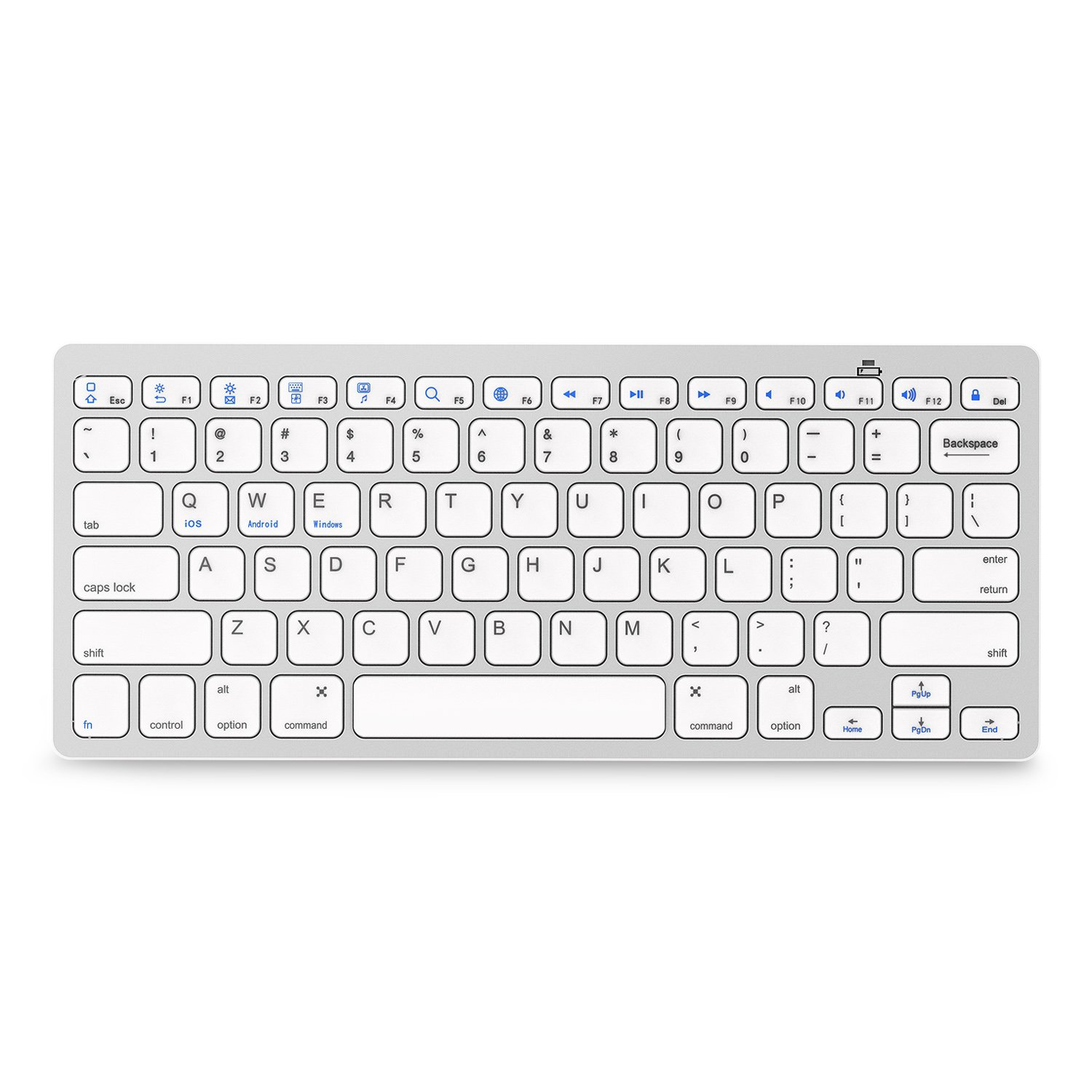 Bluetooth Keyboard — Jelly Comb Compact Bluetooth Keyboard Ultra Slim for iOS Android Windows Mac OS PC Tablet Smartphone (Compatible for iPad pro, iPhone X, SamsungTab, Surface pro and More)-Silver BCM2073