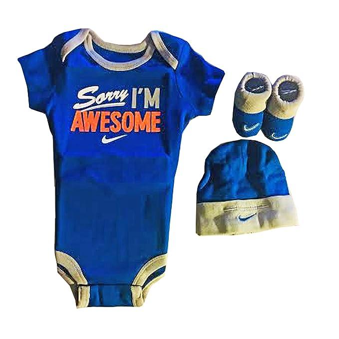 Nike Baby Boys 3 Piezas Bodysuit Awesome, sombrero y botines Set