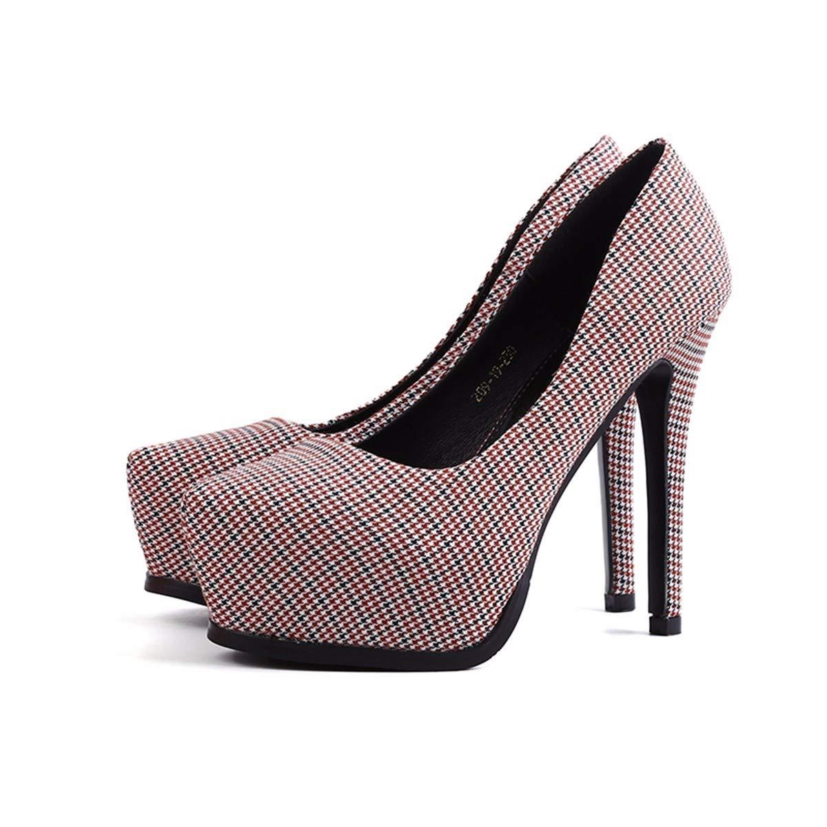 GTVERNH Damenschuhe Mode 11Cm Hochhackigen Schuhe Dünn und Wasserdichte Tartan Tartan Tartan Sexy Abend Zeigen Herbst - Mode Mode Schuhe. 350c33