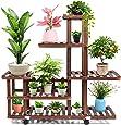 cfmour Wood Plant Stand Indoor Outdoor, Wooden Plant Display Multi Tier Flower Shelves Stands, Garden Plant Shelf Rack Holder Organizer in Corner Living Room Balcony Patio Yard (11-13 Flowerpots)