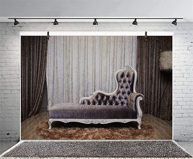 Leyiyi 15x10ft Modern Interior Decoration Backdrop White Sofa Gray Hold Pillow Silver Wall Curtain Photography Background Adults Portrait Photo Shooting Vinyl Wallpaper Studio Props