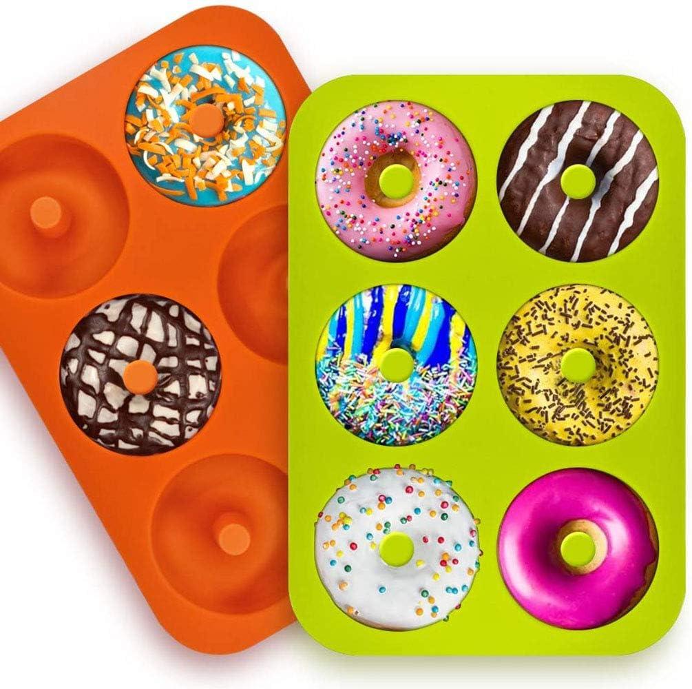 2 Pcs Moldes de Silicona para Donuts, 6 Cavidades, Molde para Pasteles Molde para Hornear Molde para Donut,per Magdalenas Gelatina Galletas