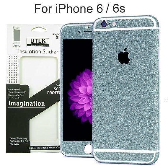 Utlk iphone 6 6s glitter sticker diamond blue full body luxury bling crystal diamond screen protector