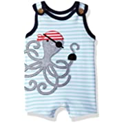 Mud Pie Baby Boys' Shortall One Piece, Pirate Octopus, 0-3 Months
