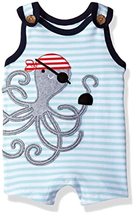 0bd1c16b3860f Mud Pie Baby Boys' Shortall One Piece, Pirate Octopus, 0-3 Months