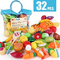 JoyGrow 32PCS Cutting Toys Pretend Food Fruits Vegetable Playset Educational Learning Toy Kitchen Play Boy Girl Kid with…